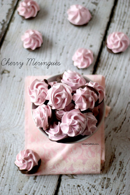 Chocolate Dipped Cherry Meringues from Lemons for Lulu.